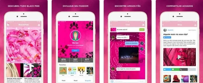 tela do app oficial da Black Pink - Dica App do Dia