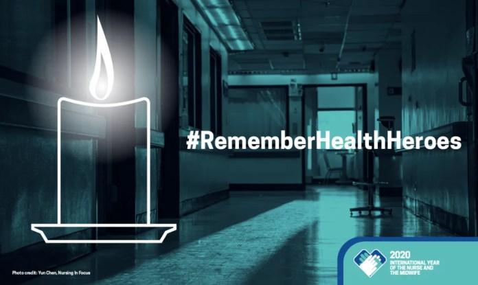 Imagem oficial da Campanha #RememberHealthHeroes - Lembre-se dos heróis da saúde - Imagem WHO