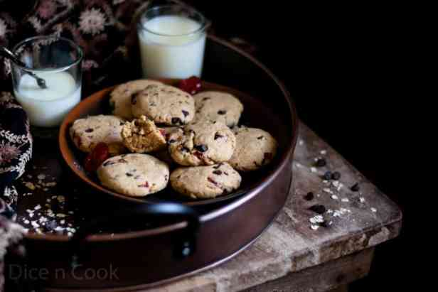 Eggless Chocochip Cherry Cookies Recipe – learn to prepare healthy chocolate chip cherry cookies – Pavithra from Dice n Cook
