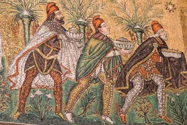 Détail de la mosaïque des Rois Mages
