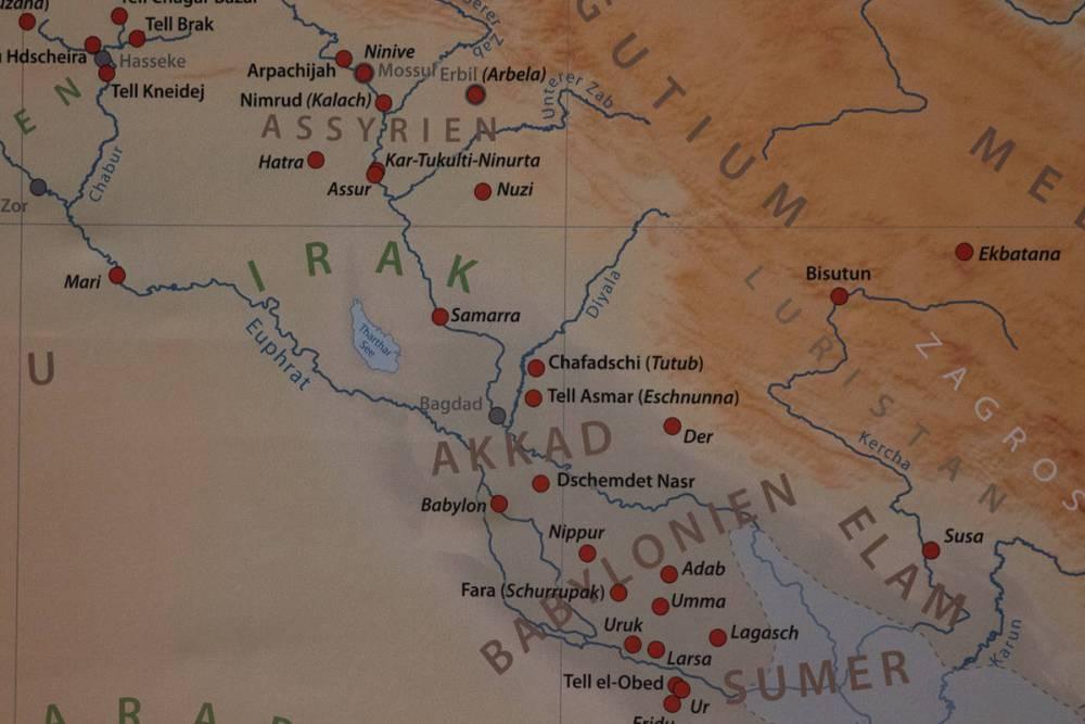 Carte du Moyen-Orient à l'époque de Babylone
