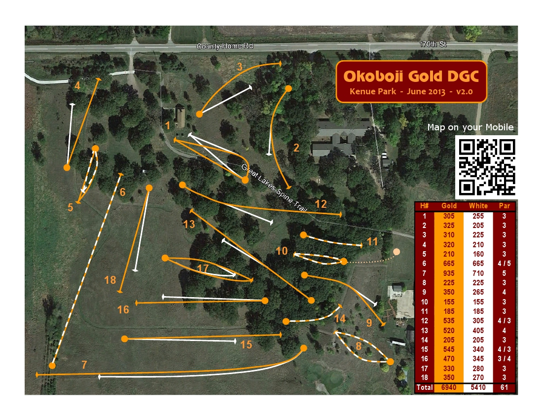 Okoboji Gold Disc Golf Course     Dickinson County Conservation Board Map of the disc golf course