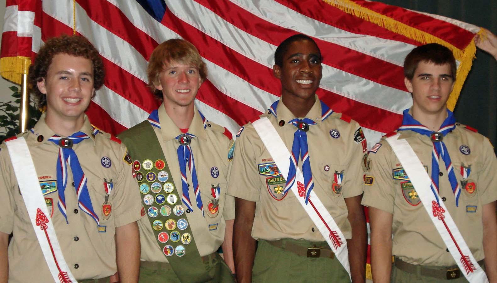 Eagle Scouts Zach Hofmann, Schafer Gray, David Thomas, Matt Simpson