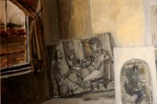 Interior with canvases
