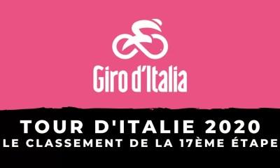 Tour d'Italie 2020 : le classement de la 17ème étape