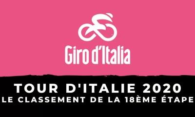 Tour d'Italie 2020 - Le classement de la 18ème étape