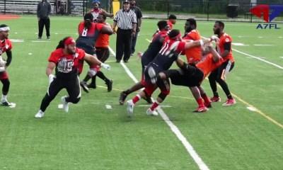 [Vidéo] Le foot US à 7, un mélange de rugby et football américain sans protection