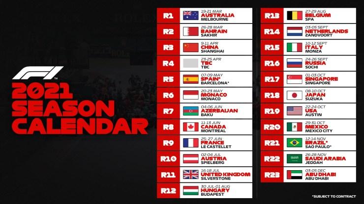 Formule 1 - Le calendrier de la saison 2021
