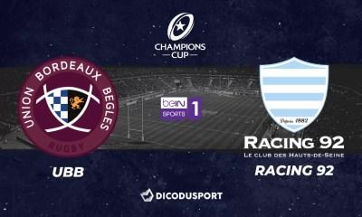 Champions Cup - Notre pronostic pour Bordeaux-Bègles - Racing 92