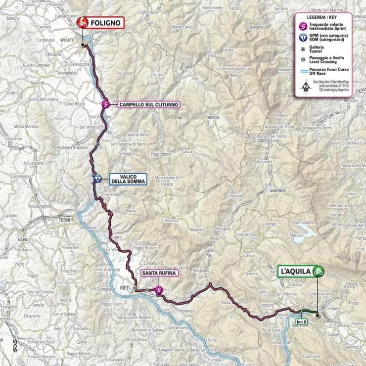 La carte du parcours de la 10ème étape du Tour d'Italie