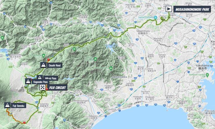 La carte du parcours de la course en ligne hommes des Jeux Olympiques de Tokyo