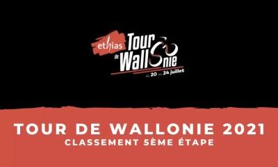 Tour de Wallonie 2021 : le classement de la 5ème étape