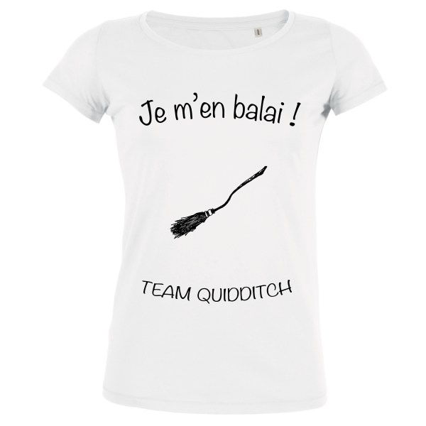 T-shirt Blanc Femme Je m'en balai - Team Quidditch