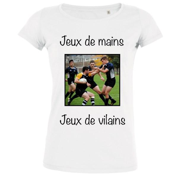 T-shirt Blanc Femme Jeux de mains jeux de vilains - Team Rugby