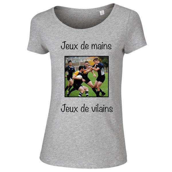 T-shirt Gris Femme Jeux de mains jeux de vilains - Team Rugby