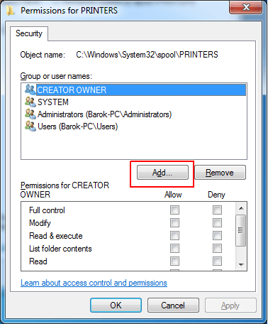Access is Denied Add Printer via Local Port