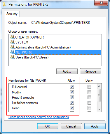 Full Control NETWORK Permission