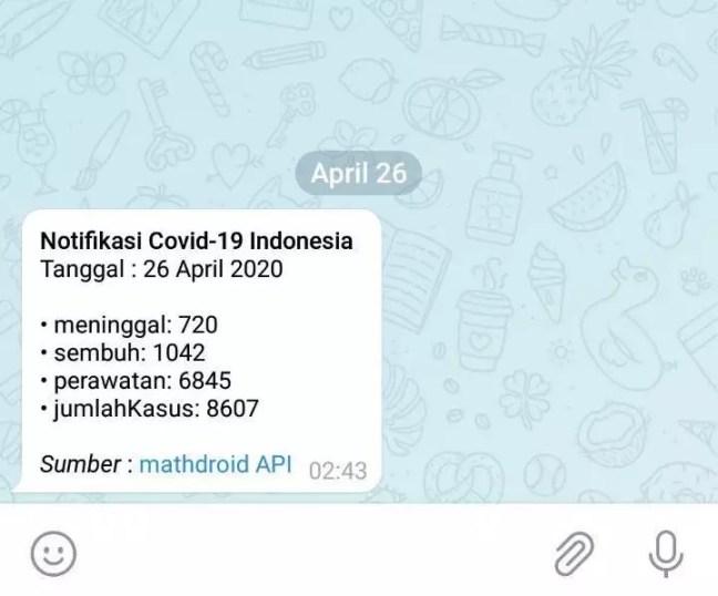 Bot Telegram Notifikasi COVID19 Indonesia