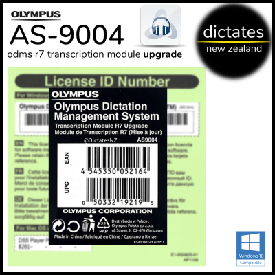 Olympus NZ AS-9004 ODMS R7 Upgrade Licence Key Serial Number TM Transcription Module Windows 10