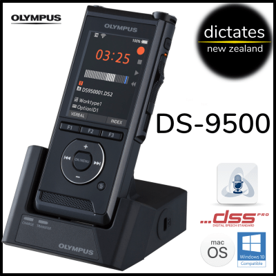 ds9500 Olympus NZ ds-9500 digital dictation dictaphone ds2 windows10 macos new zealand
