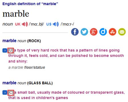 Grammar codes on Cambridge Dictionaries Online