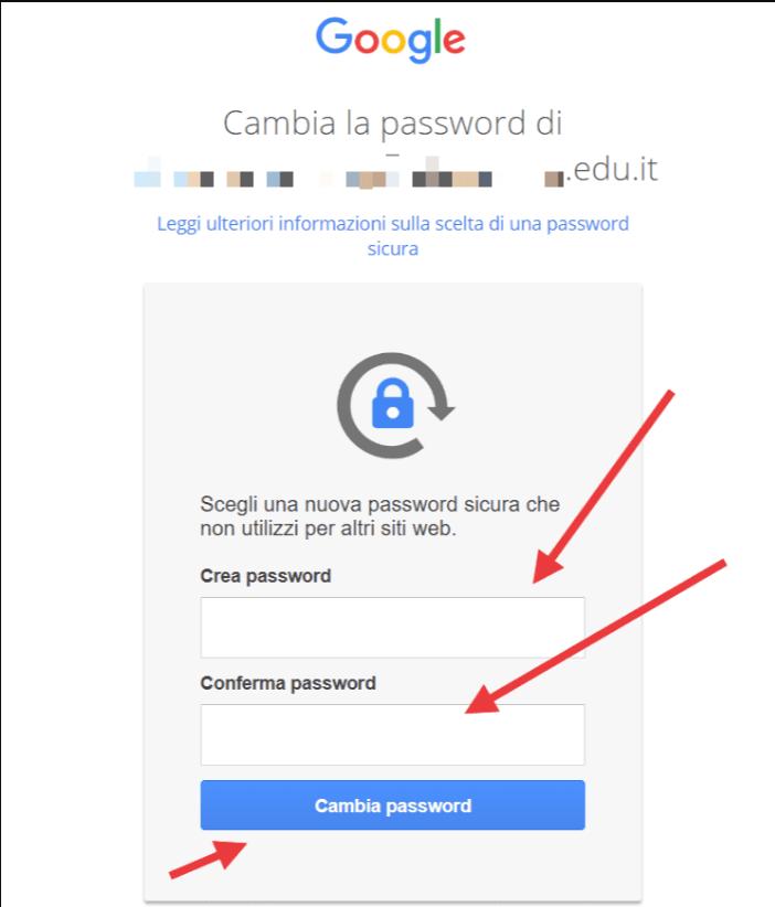 Attivazione account - cambia password