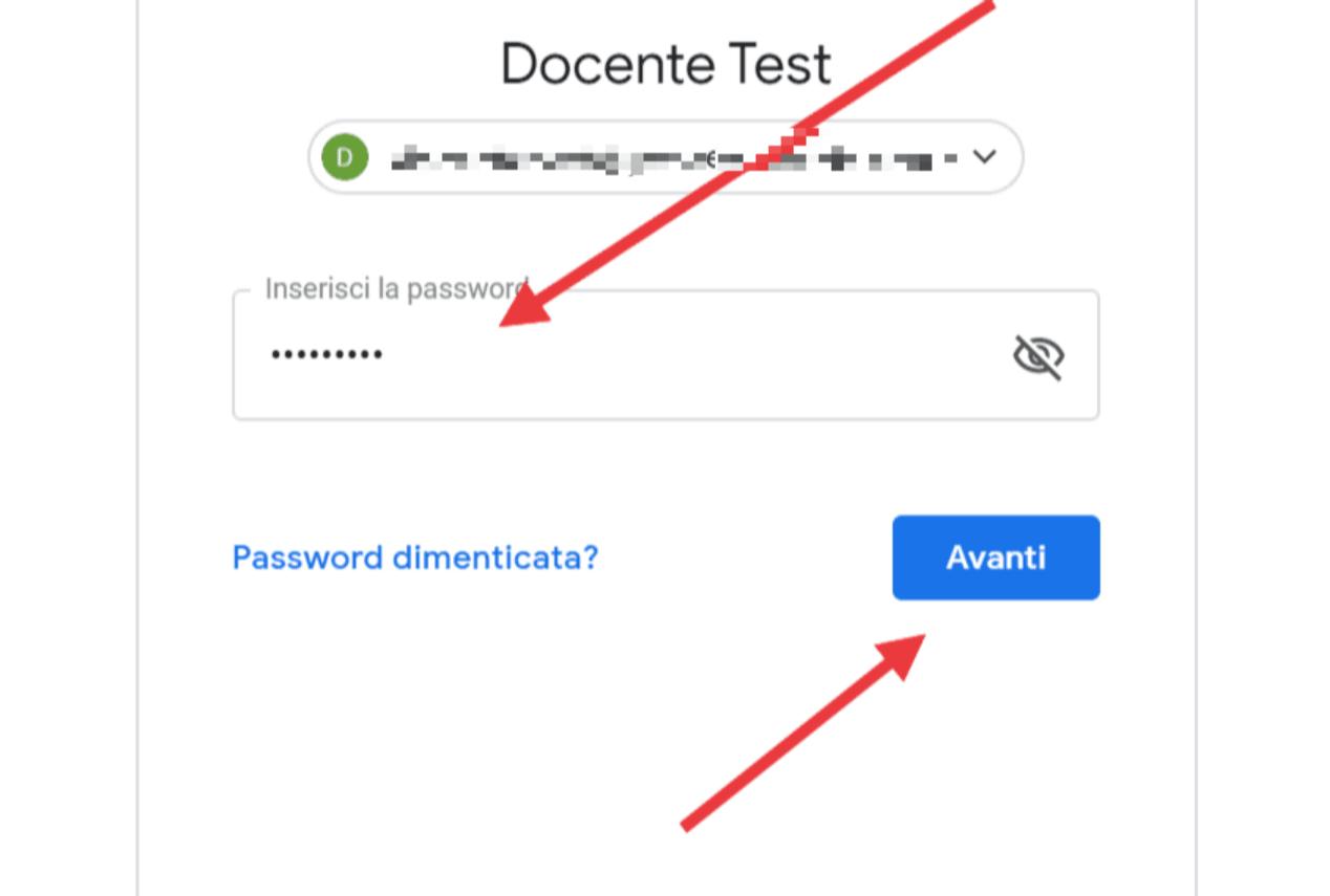 Attivazione account - inserisci password