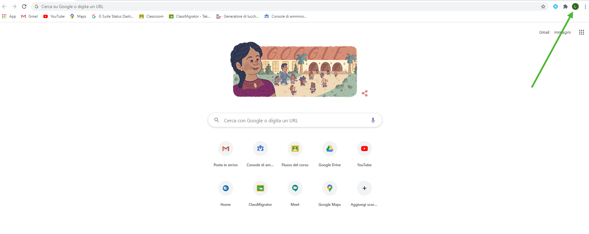 Clicca icona profilo Chrome