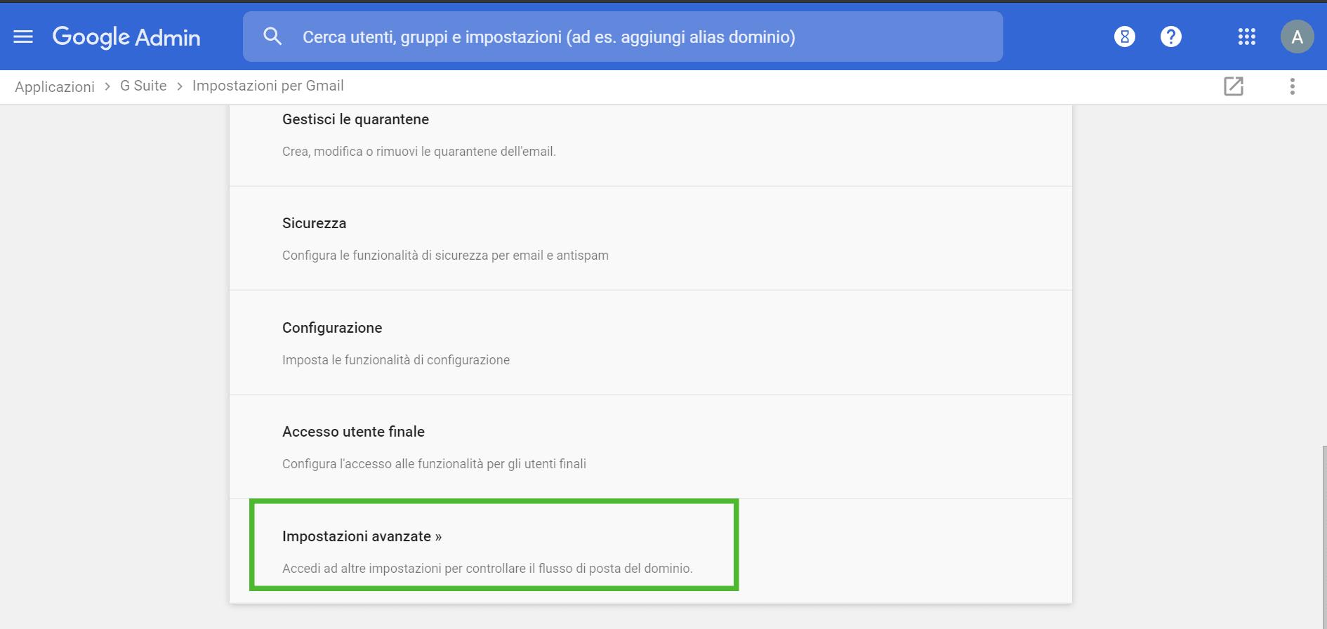 limitare gmail - impostazioni avanzate