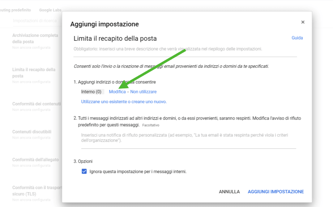 limitare gmail - modifica elenco