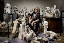 Contigliano (Rieti, Lazio – Italy), 8th November 2016, the Danish sculptress Elisabeth Tronhjem portrayed in her atelier amid some of her chalk sculptures damaged by the major earthquake occurred in Central Italy on 30th October 2016