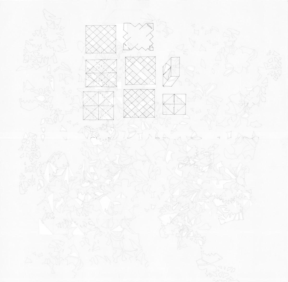 Dibujo de la artista Maria Campiglia, Sobre el tacto II. Vista del frente