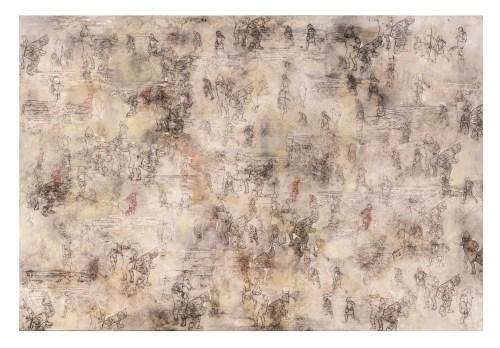 Estarcido de pigmento, acrílico y óleo sobre tela de la artista María Campiglia.