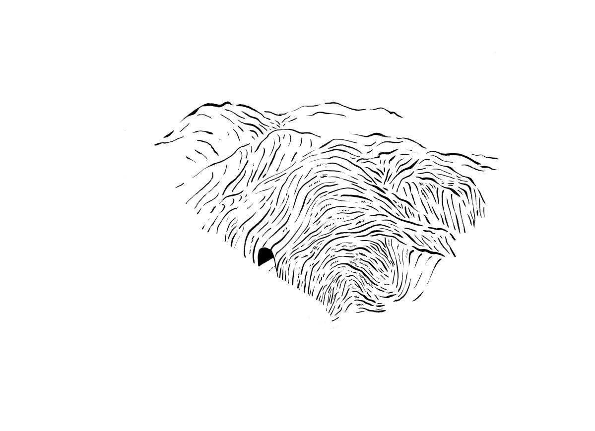 detalle de obra allá entre las montañas