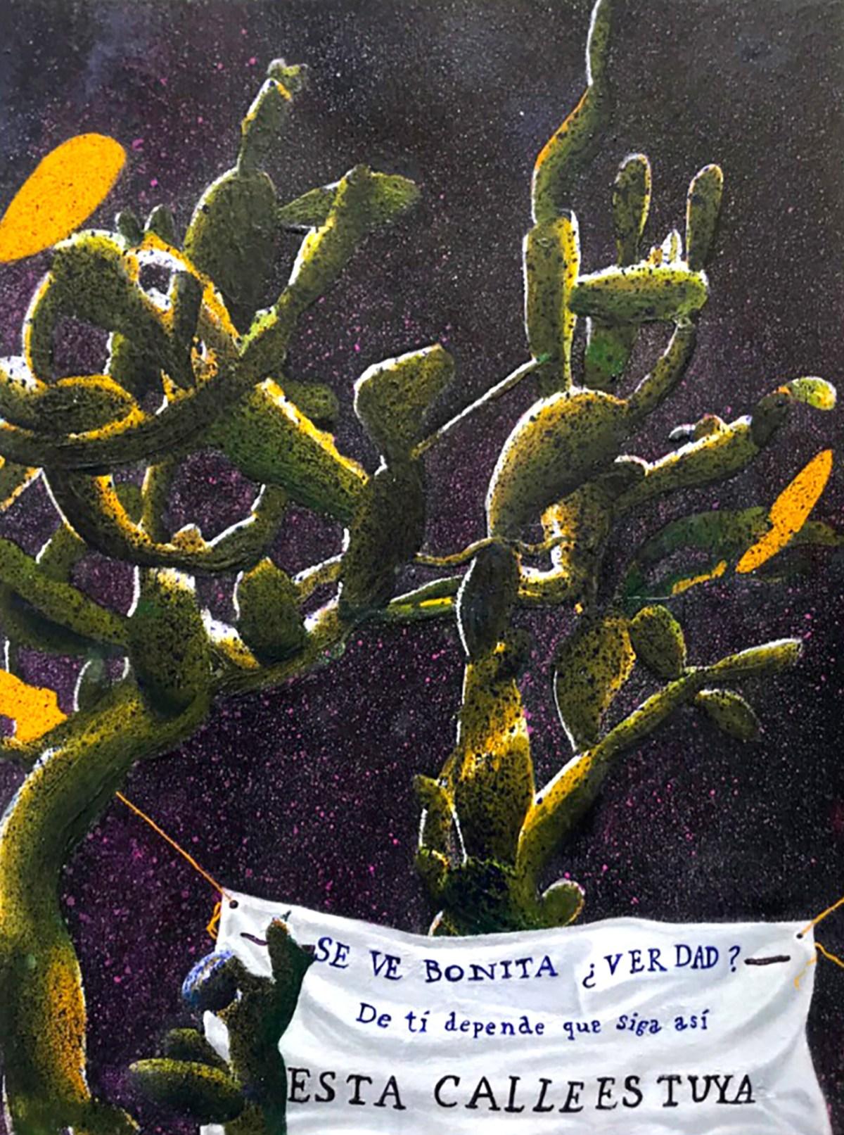 Pintura al óleo sobre papel del artista Santiago Robles