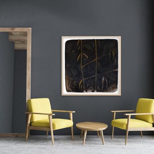 Oleo sobre papel de la artista Alicia Ayanegui colgada en pared sobre fondo gris