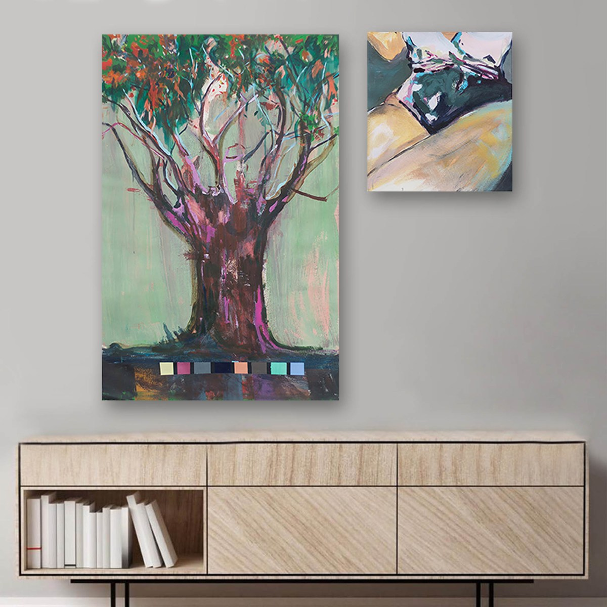 Pintura, El canto de las sirenas II, de Agustín Guty González en escritorio
