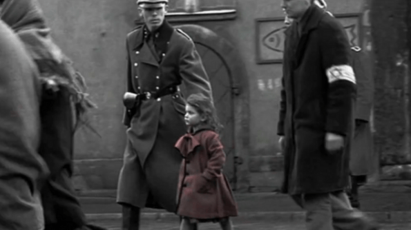 Famous girl in red scene from the Academy Award-winning film Schindler's List