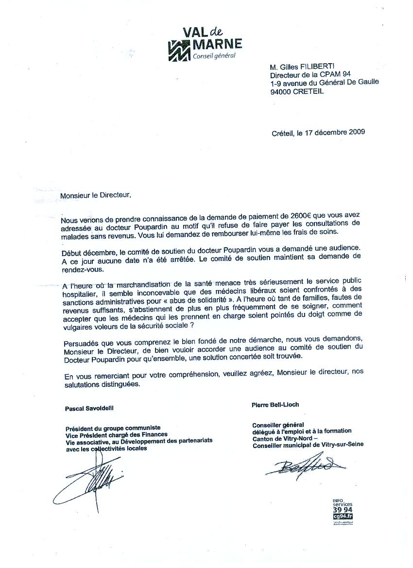 lettre de soutien du president du groupe communiste du cg 94 soutien au docteur didier poupardin. Black Bedroom Furniture Sets. Home Design Ideas