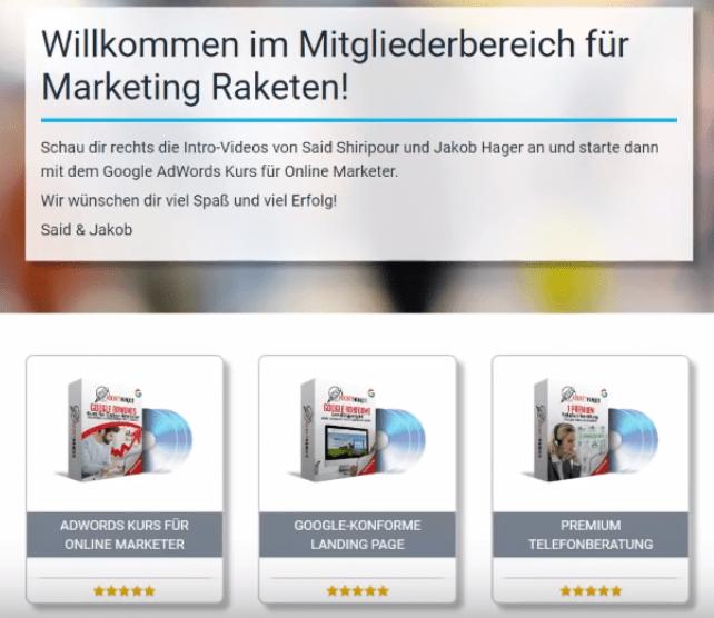 Marketing Rakete Inhalt und Erfahrungen