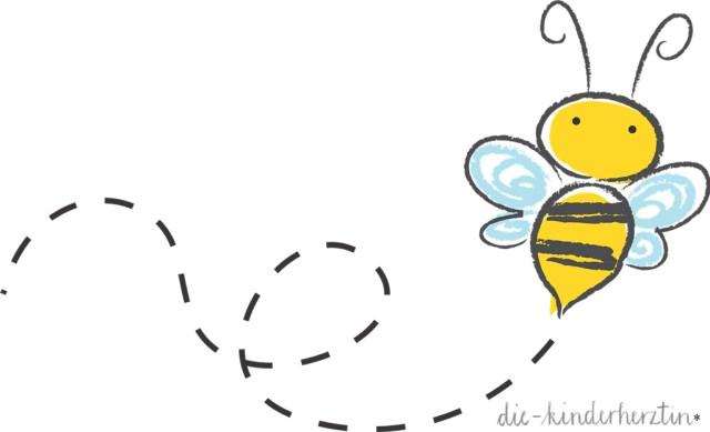 Fliegende Comic-Biene