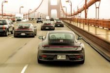 Der neue 911er Porsche auf der Golden Gate Bridge in San Francisco. Foto: Porsche