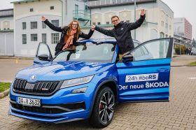 Starkes Team: mid-Autorin und Rennfahrerin Laura Luft, Rallye-Crack Fabian Kreim und der Skoda Kodiaq RS. © Skoda