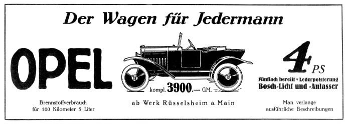 Werbung für den Opel Laubfrosch (1924). Foto: Auto-Medienportal.Net/Opel