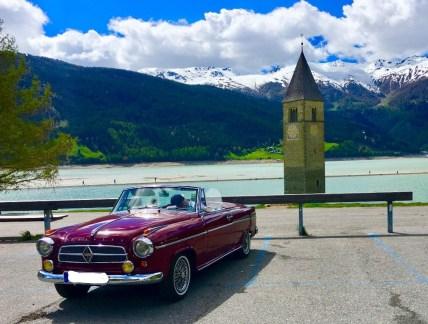 Die Borgward Isabelle als Cabrio. Gesehen am Reschenpass. Foto:Klaus H. Frank
