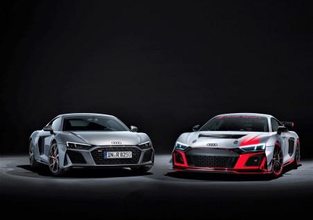 Audi R8 5.2 FSI Coupé und R8 LMS GT4 (von links). Foto: Auto-Medienportal.Net/Audi