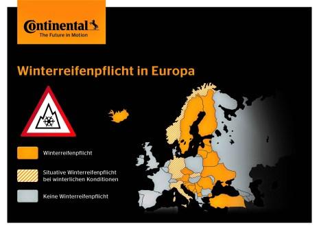 In Mitteleuropa haben nur Polen, Schweiz und Ungarn keine Winterreifenpflicht.