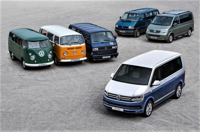 """Sechs Generationen VW """"Bulli"""". Vorne der T6. © Volkswagen"""