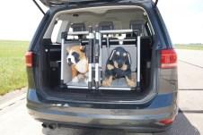 Hundetransport im Auto: Beide Hunde(-Dummys) sind in Ihren Boxen sicher aufbewahrt Foto: Auto-Medienportal.Net/ADAC