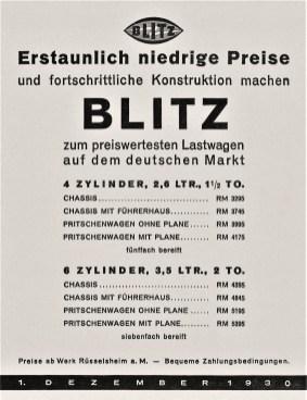 Opel Blitz-Preisliste von 1930. Foto: Opel